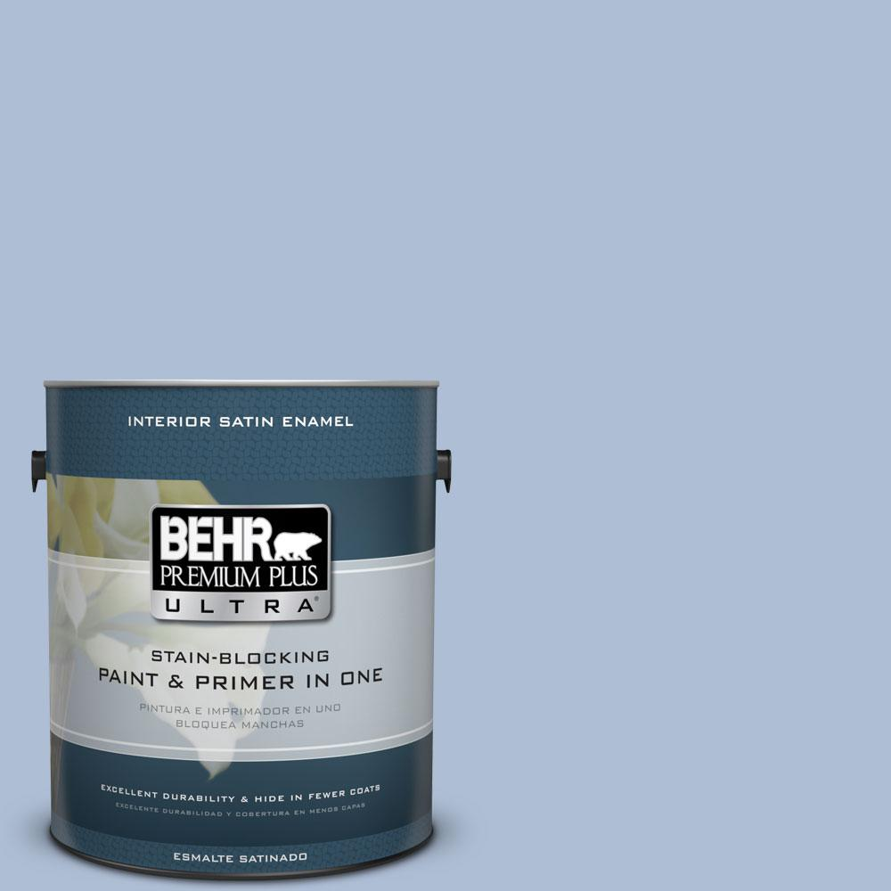 1 gal. #580E-3 Sweet Blue Satin Enamel Interior Paint and Primer