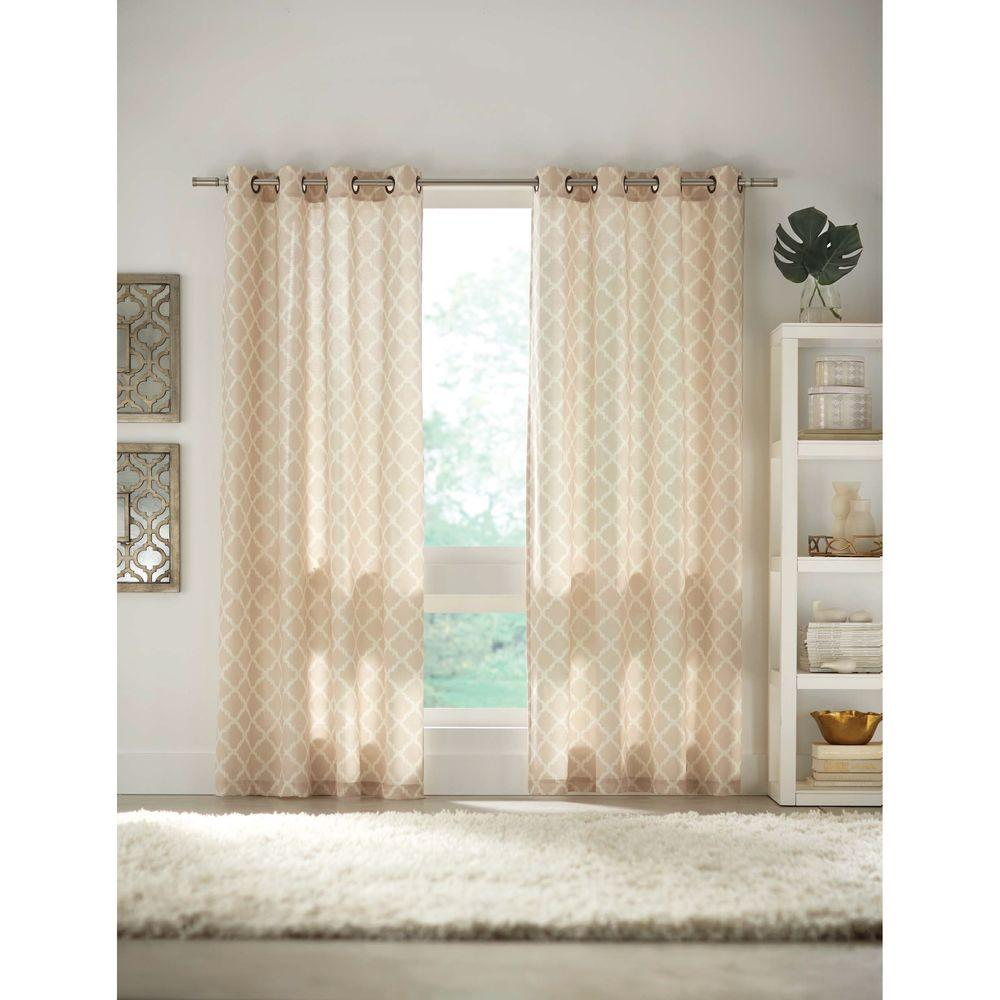 Home Decorators Collection Semi Opaque Ivory Grommet Curtain 52 In W X 84 In L Arabica 280
