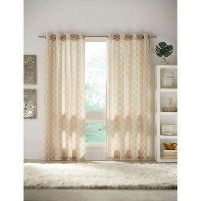 Semi-Opaque Ivory Grommet Curtain - 52 in. W x 84 in. L
