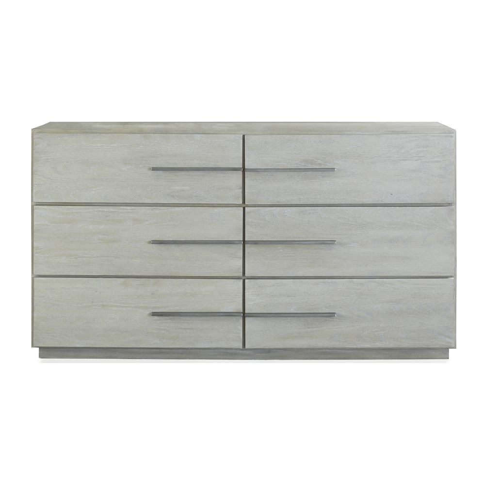 Destination 6-Drawer Cotton Grey Dresser 36 in. H x 66 in. W x 20 in. D