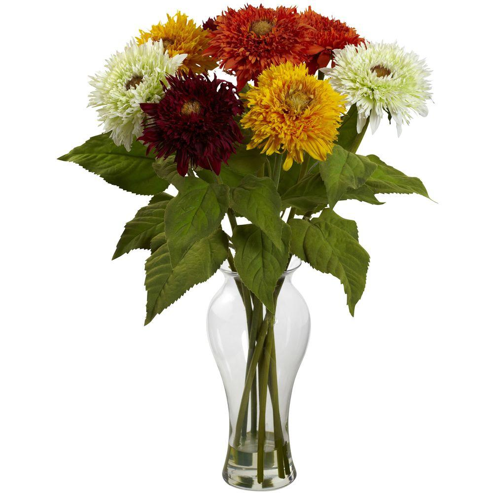 Nearly Natural Sunflower Arrangement With Vase 1360 As