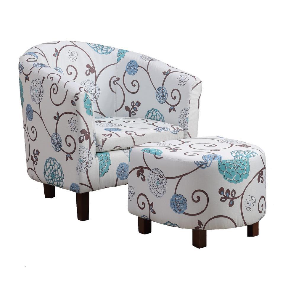 Sara Floral Tub Chair with Ottoman