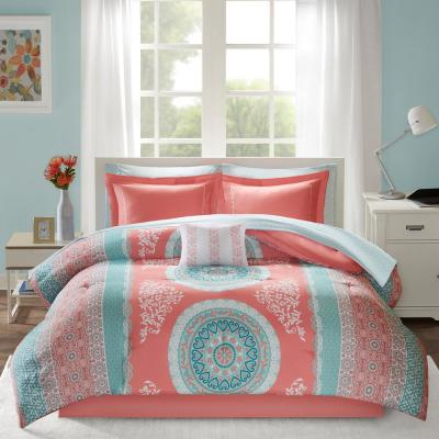Eleni 9-Piece Coral Full Bed in a Bag Set