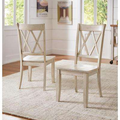 Sawyer Antique White Wood X Back Dining Chair (Set Fo 2)