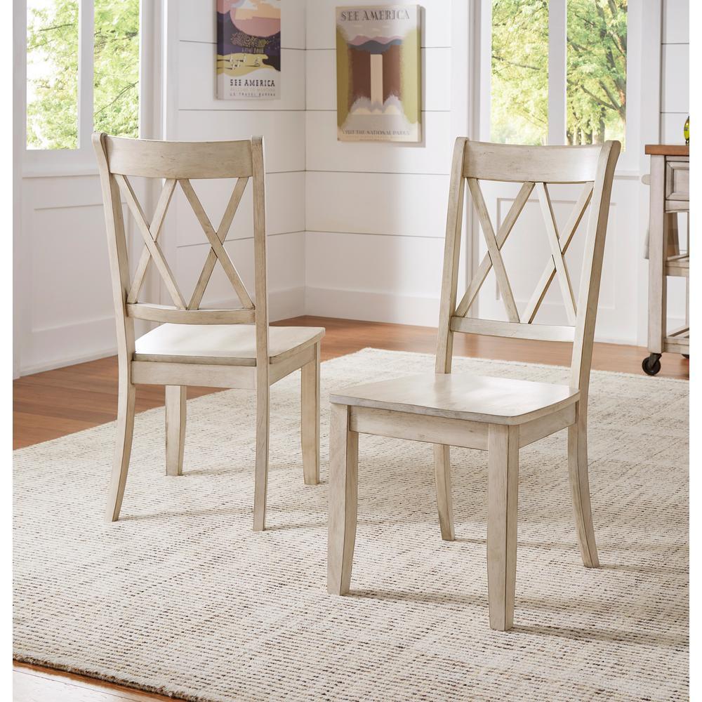 Homesullivan Sawyer Antique White Wood X Back Dining Chair Set Fo 2