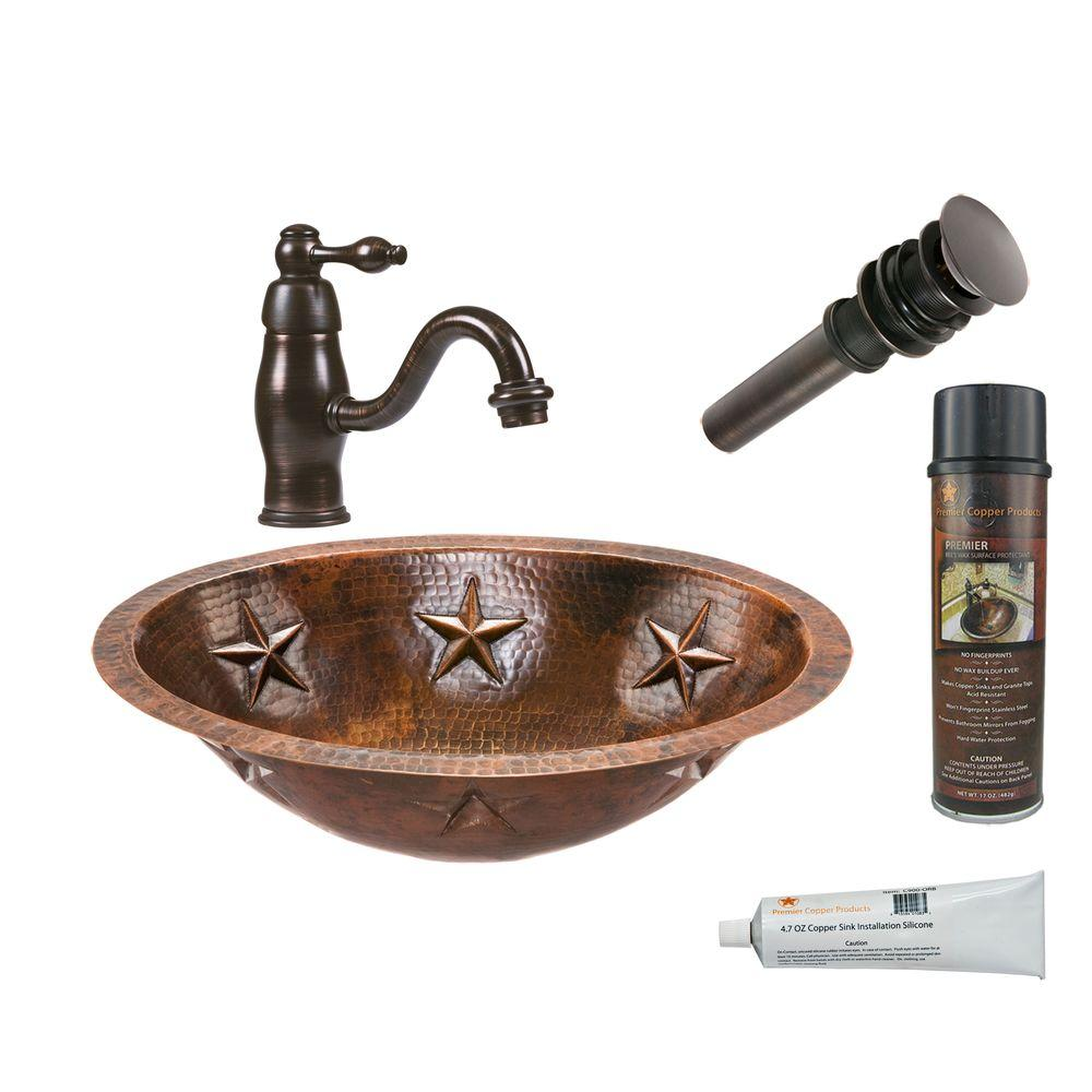 All-in-One Oval Star Under Counter Hammered Copper Bathroom Sink in Oil