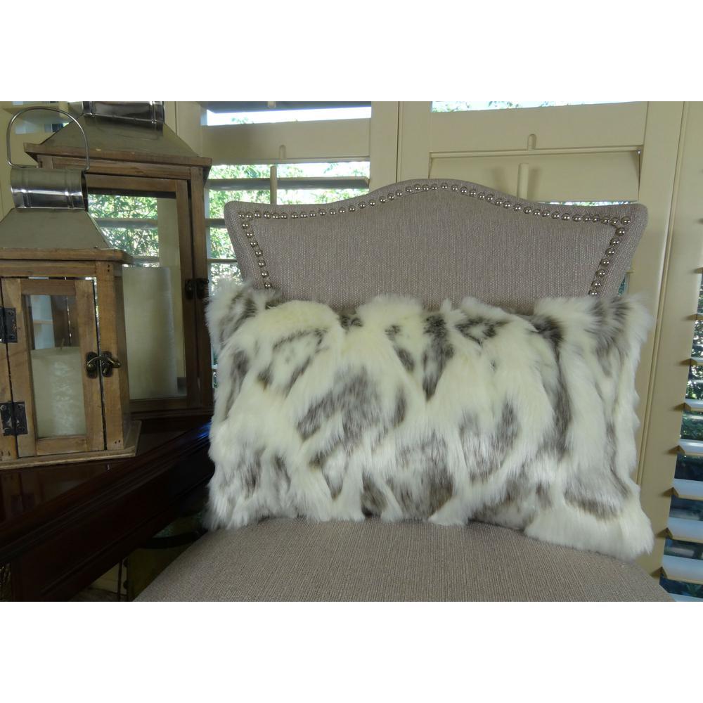 Ivory Rabbit Fur 12 in. x 20 in. Ivory Gray Hypoallergenic Down Alternative Handmade Throw Pillow