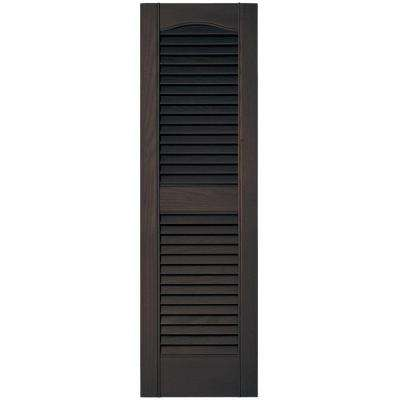 12 in. x 39 in. Louvered Vinyl Exterior Shutters Pair #010 Musket Brown