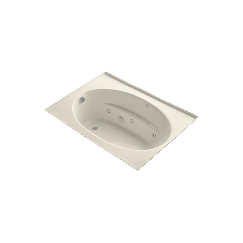 KOHLER Windward 5 ft. Acrylic Oval Drop-in Whirlpool Bathtub in Almond