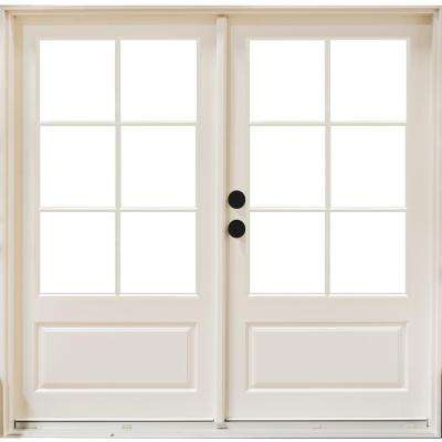 72 in. x 80 in. Fiberglass Smooth White Right-Hand Inswing Hinged 3/4-Lite Patio Door with 6-Lite GBG