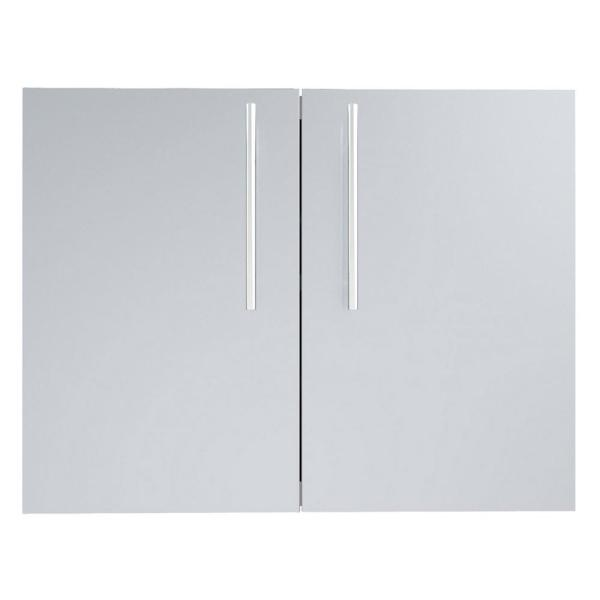 Designer Series Raised Style 30 in. 304 Stainless Steel Double Access Door with Shelves