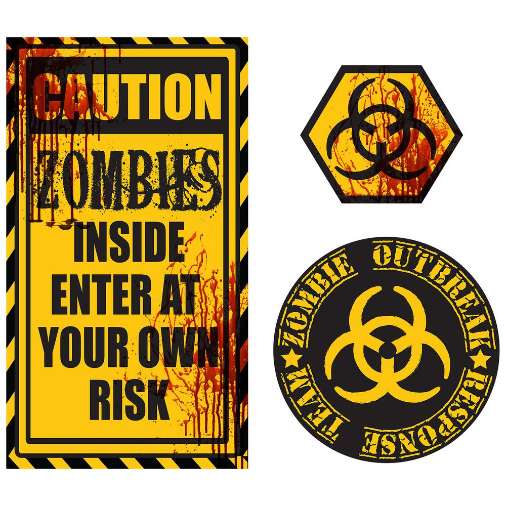 WallPOPs Caution Zombies Wall Quote-DWPQ2434 - The Home Depot