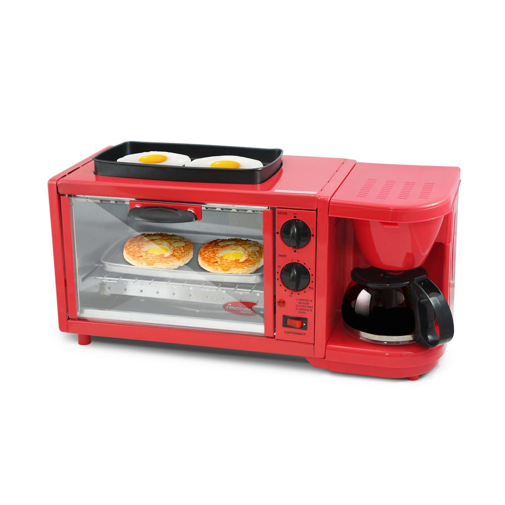 Red 3-in-1 Deluxe Breakfast Station Toaster Oven, Red/Orange Start your morning right with the 3-in-1 Deluxe Breakfast Station. Enjoy freshly brewed coffee, toast and eggs all while saving you countertop space and energy. This compact unit features a 4-Slice Toaster Oven with a 60 minute timer control and indicator light, a 4-cup capacity coffeemaker with glass carafe and a 9.5 in. Dia frying griddle perfect for frying eggs and other breakfast foods. With its compact design, clean up is easy and storage is no-fuss. Color: Red/Orange.