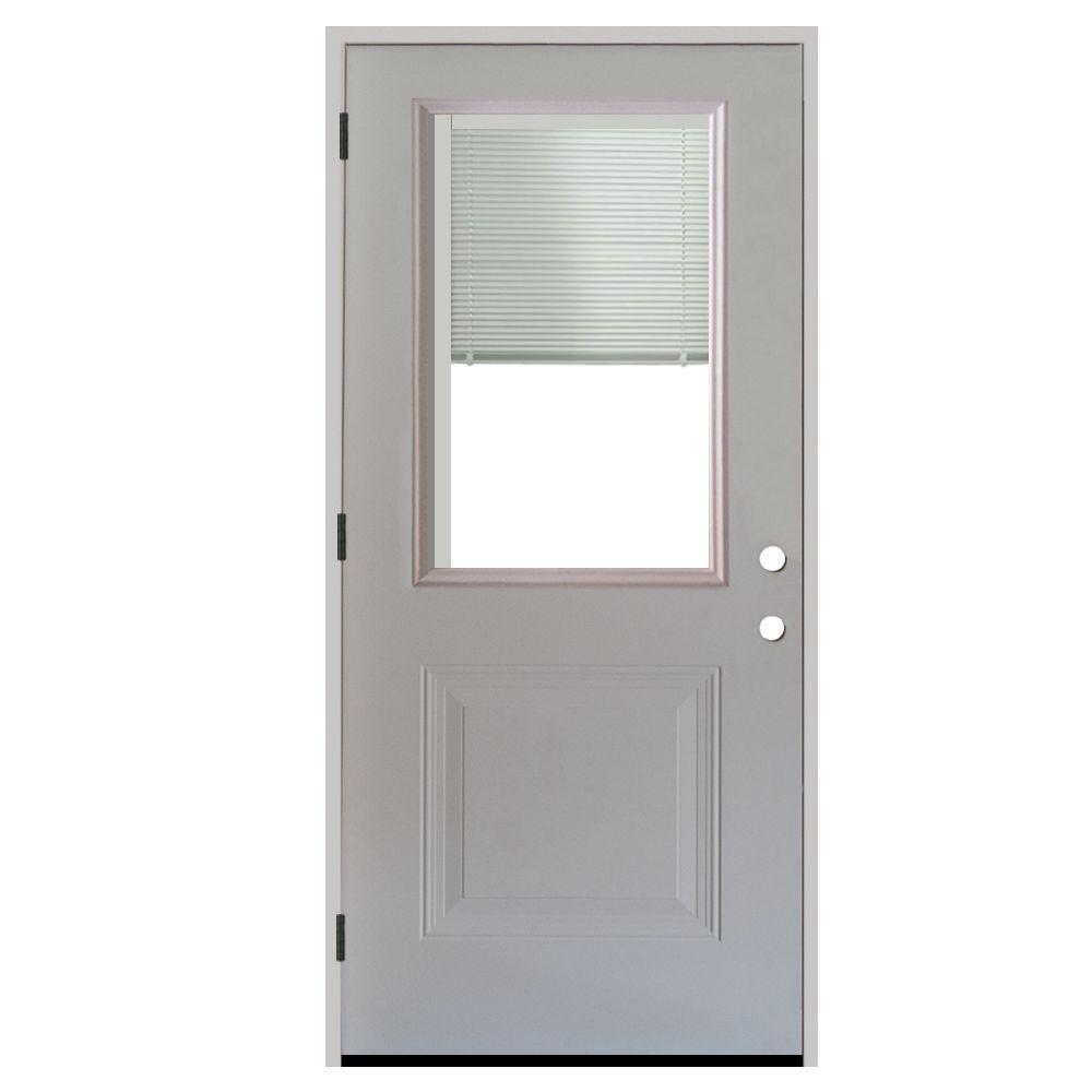 Steves & Sons 34 in. x 80 in. 1-Panel 1/2 Lite Mini-Blind Primed White Steel Prehung Front Door