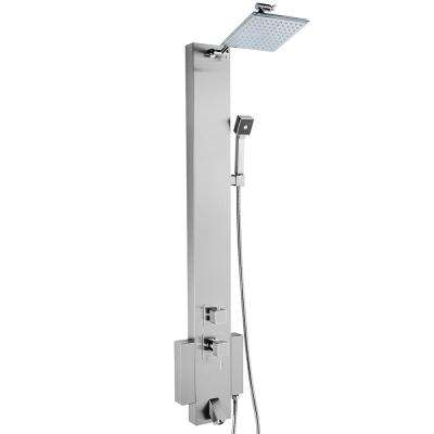 48 in. Shower Panel System in Stainless Steel with Rainfall Shower Head, Hand Shower and Tub Spout