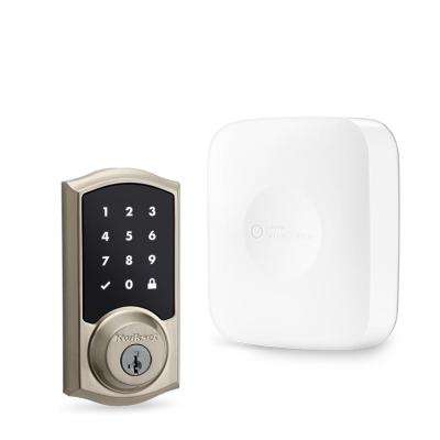 SmartThings Hub with Kwikset Satin Nickel Connected Touchscreen Deadbolt