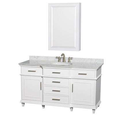 Berkeley 60 in. Vanity in White with Marble Vanity Top in White Carrara, Undermount Round Sink and Medicine Cabinet