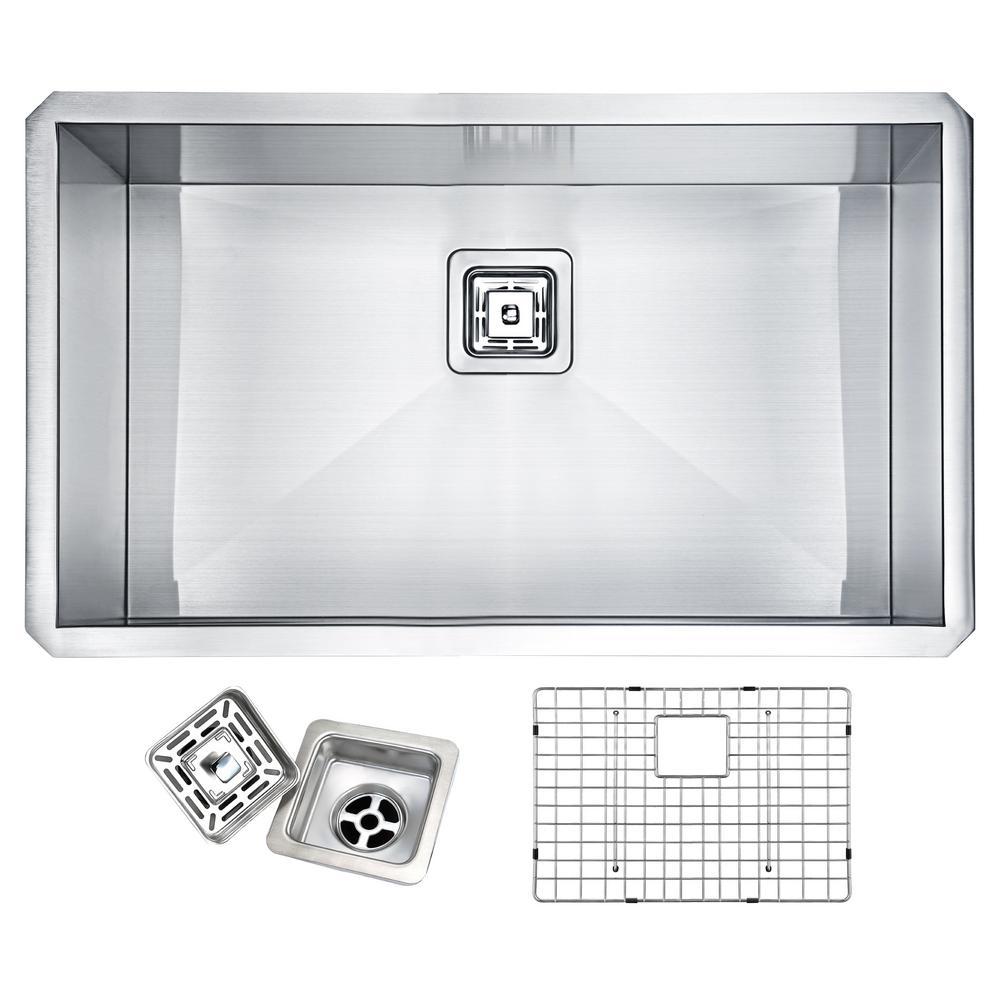 VANGUARD Series Undermount Stainless Steel 30 in. Single Bowl Kitchen Sink