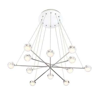 Lazio Collection 72-Watt Chrome Integrated LED Chandelier with Clear Glass Shade