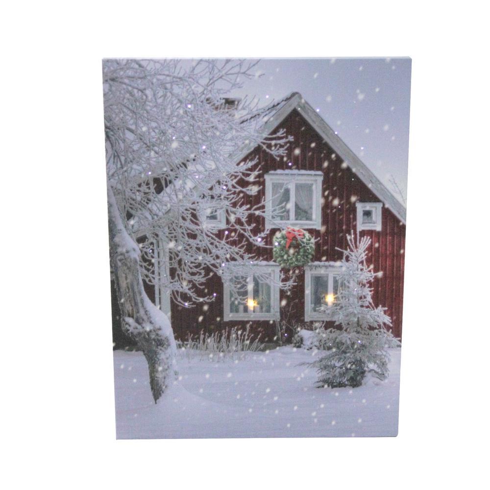 15.75 in. LED Fiber Optic Lighted Red Snowy Barn House Christmas Wall Art
