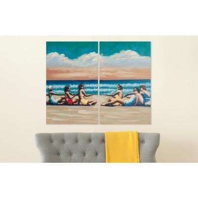 """32 in. x 20 in. """"Swim Competition"""" Diptych Painted Canvas Wall Art"""