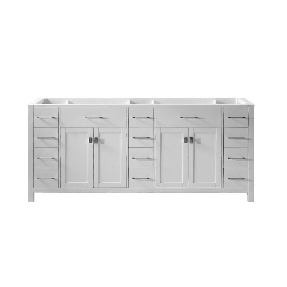 Virtu USA Caroline Parkway 78 in. W x 21.46 in. D x 34.06 in. H Vanity Cabinet in White