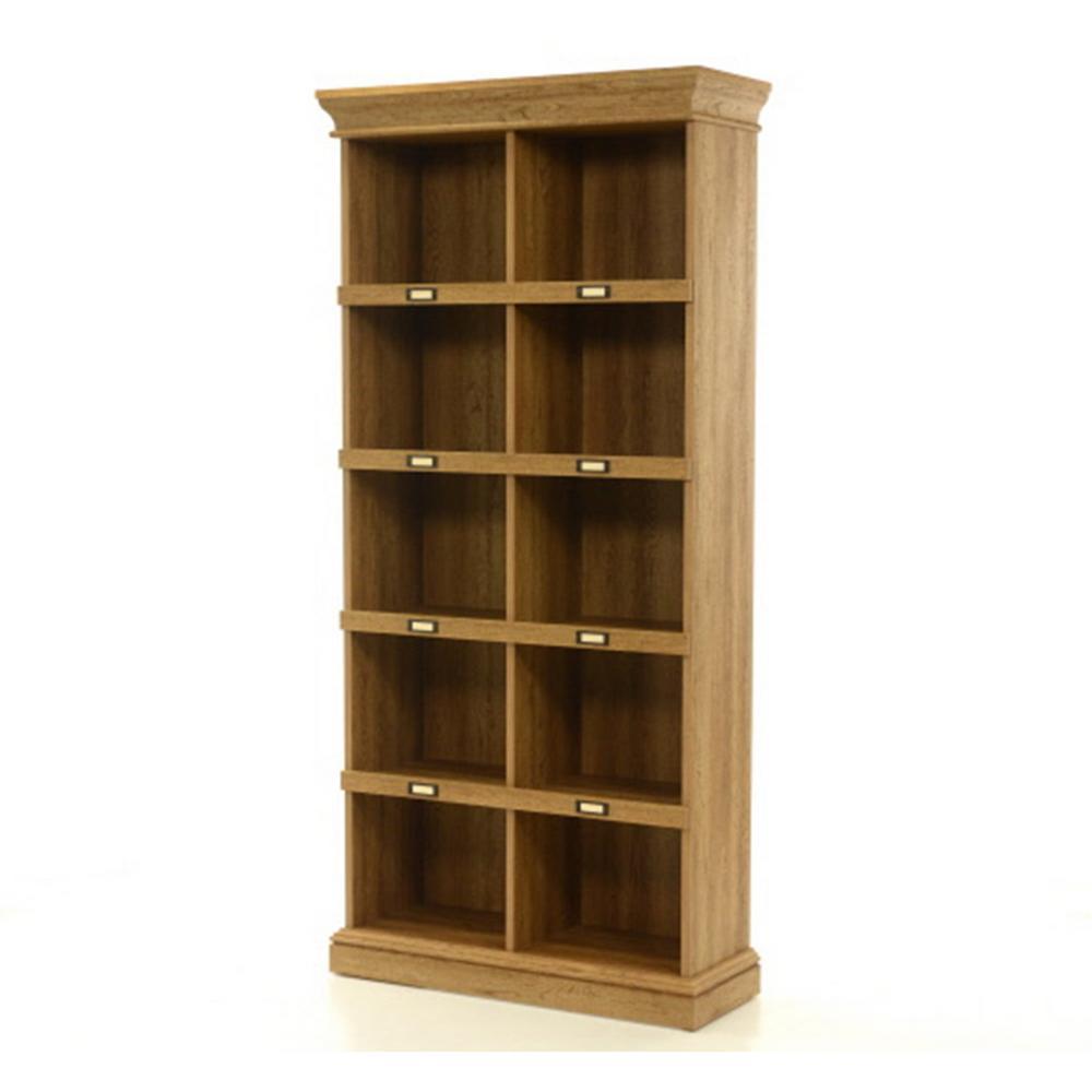 Sauder Barrister Lane Scribed Oak Open Bookcase