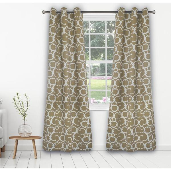 Rhys 38 in. x 84 in. L Polyester Blackout Curtain Panel in Taupe (2-Pack)