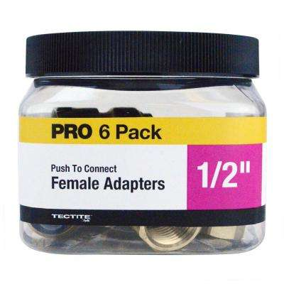 1/2 in. Brass Push-To-Connect Female Pipe Thread Adapter Jar (6-Pack)