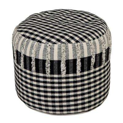 8 in. x 14 in. Plaid Black / White Checks Ottoman Pouf