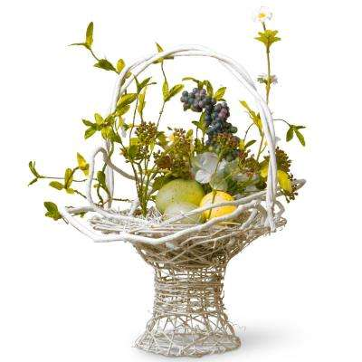 13.5 in. Decorated Basket with Eggs and Hydrangeas