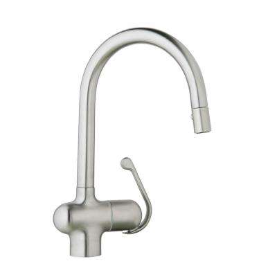 LadyLux Pro Single-Handle Pull-Down Sprayer Kitchen Faucet in Stainless Steel