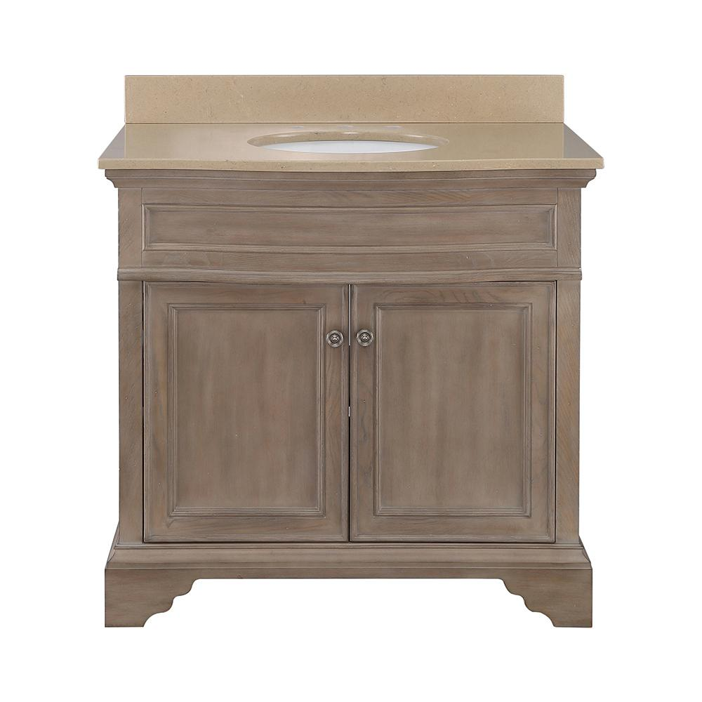 Home Decorators Collection Schofield 37 in. W x 22 in. D Vanity in Antique Ash with Engineered Stone Vanity Top in Coffee with White Sink