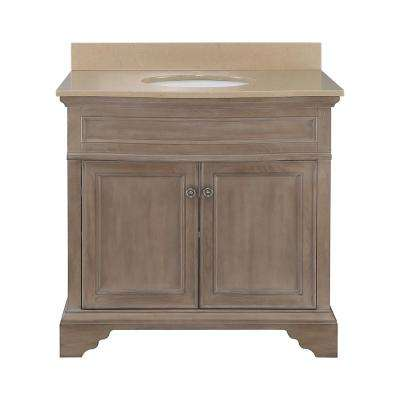 Schofield 37 in. W x 22 in. D Vanity in Antique Ash with Engineered Stone Vanity Top in Coffee with White Sink