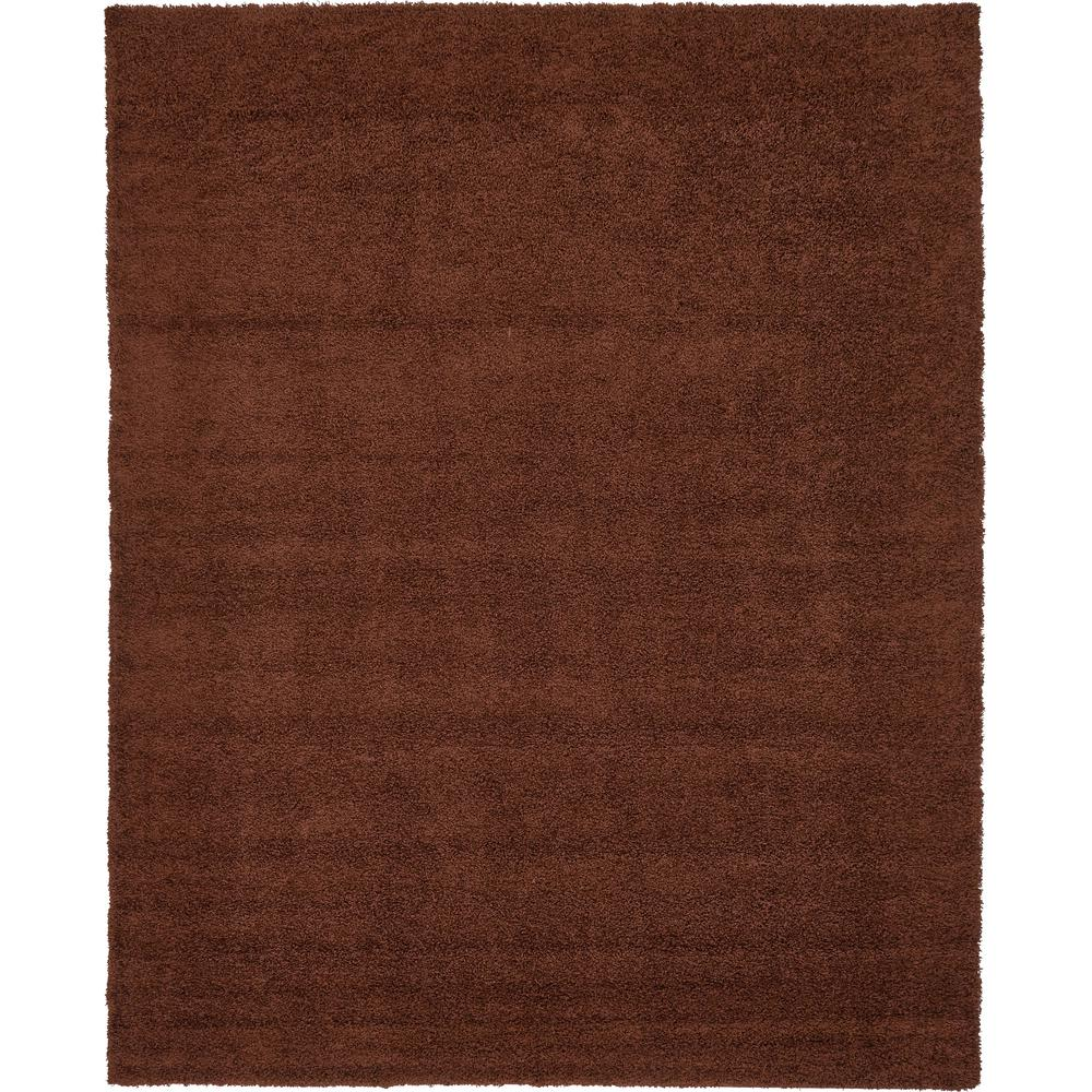 Unique loom solid shag chocolate brown 12 ft 2 x 15 ft rug 3136088 the home depot for Chocolate brown bathroom rugs