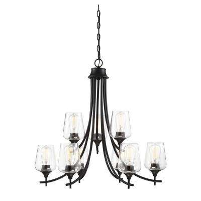 9-Light Black Chandelier with Clear Glass