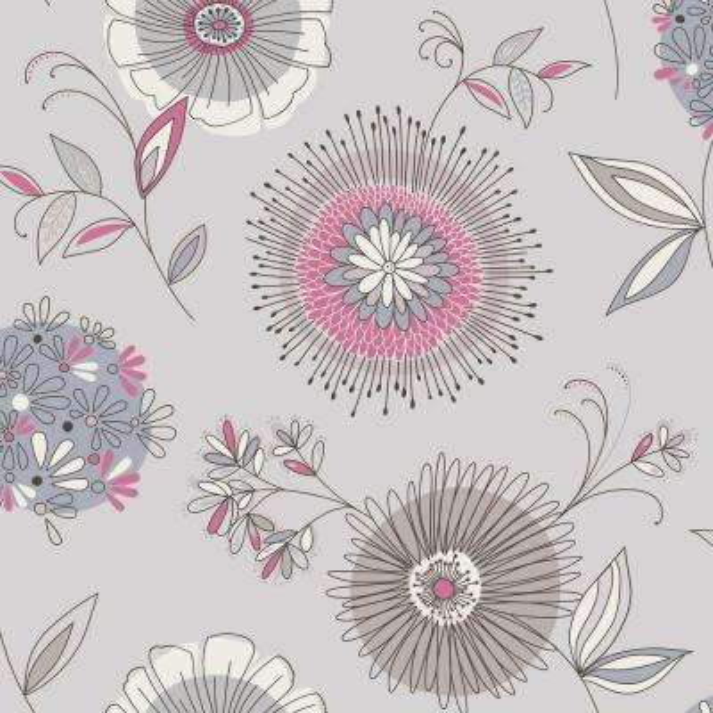 Maisie Blue Floral Burst Wallpaper