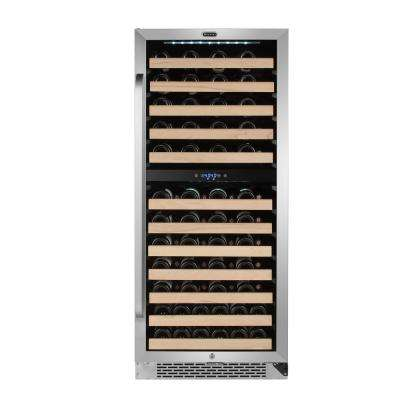 92-Bottle Built In Stainless Steel Dual Zone Compressor Wine Cooler with Display Rack and LED Display