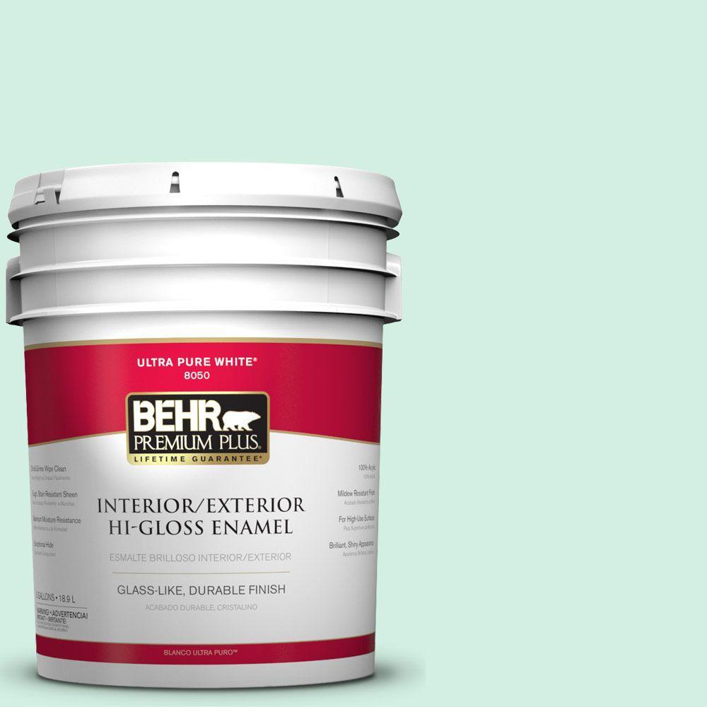 BEHR Premium Plus 5-gal. #P420-1 Spring Frost Hi-Gloss Enamel Interior/Exterior Paint