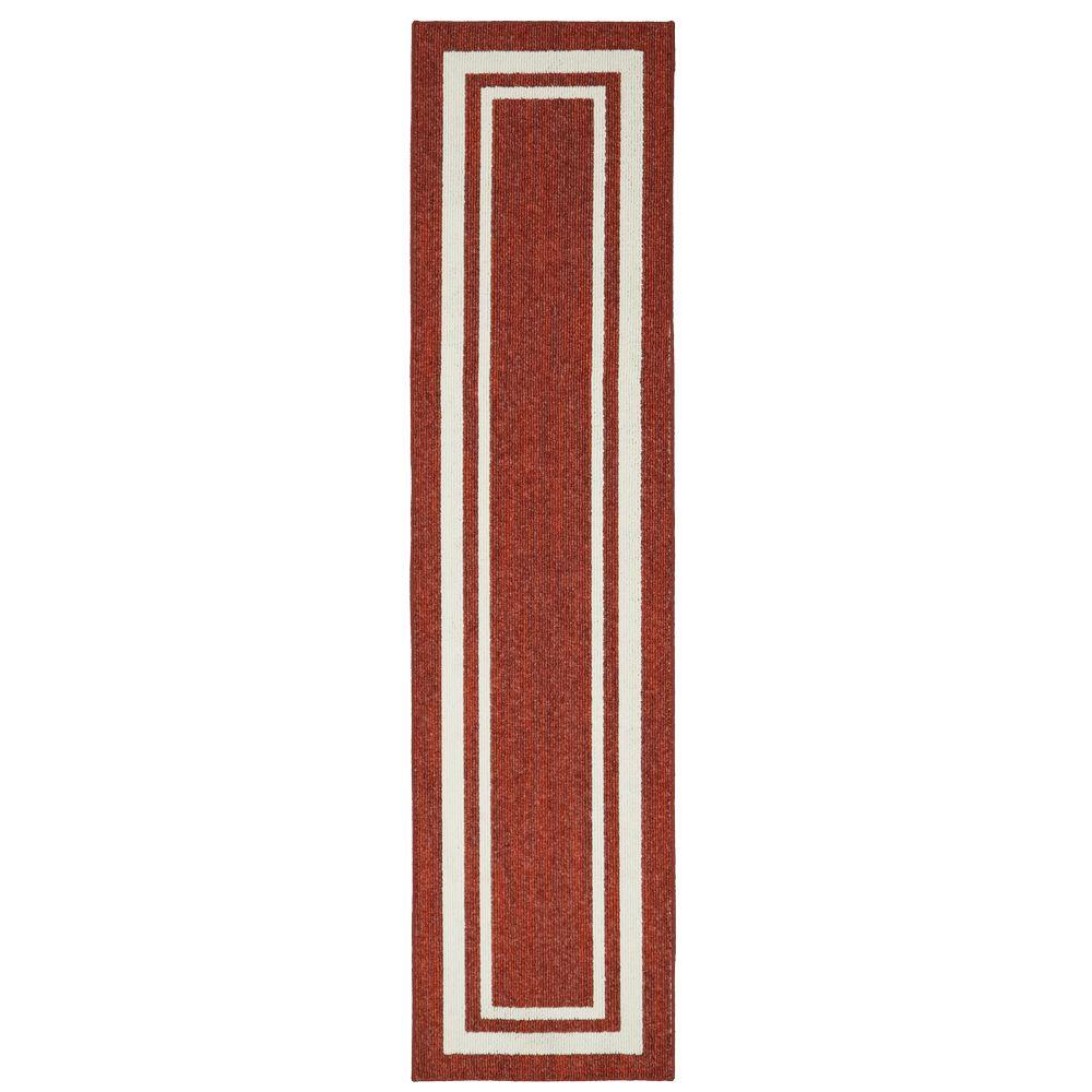 Border Loop Garnet Cream 2 Ft X 8 Ft Indoor Runner Rug 513801