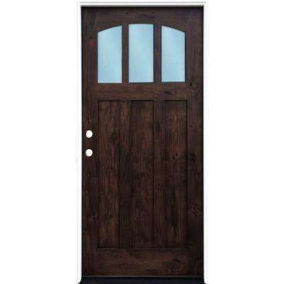 36 in. x 80 in. Craftsman Espresso Right Hand Inswing 3-lite w/ Arched Reed Glass Stained Alder Wood Pre-Hung Front Door