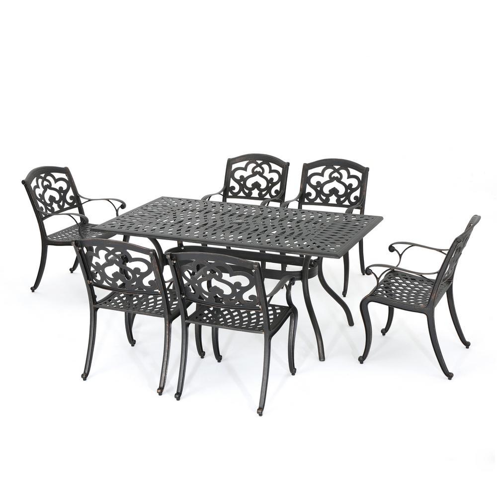 Vienna 7-Piece Cast Aluminum Rectangular Outdoor Dining Set