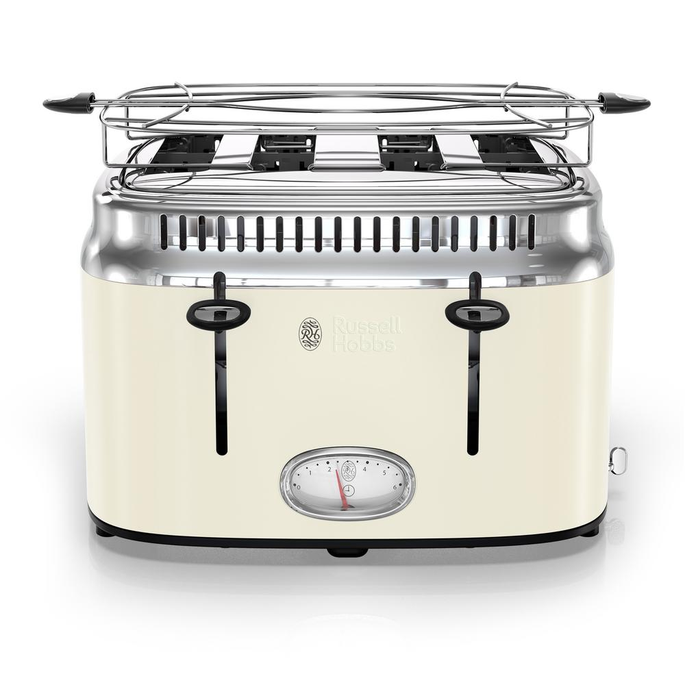 Russell Hobbs Retro Style 4-Slice Cream Stainless Steel Toaster with Built-In Timer