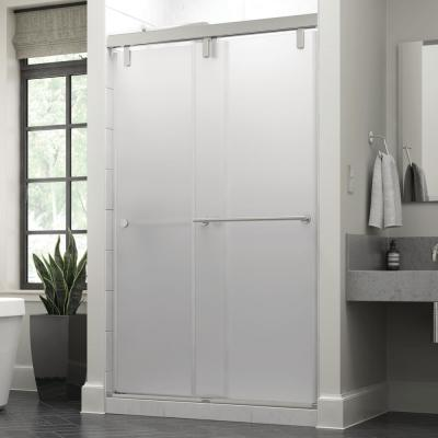 Lyndall 48 x 71-1/2 in. Frameless Mod Soft-Close Sliding Shower Door in Chrome with 3/8 in. (10mm) Niebla Glass