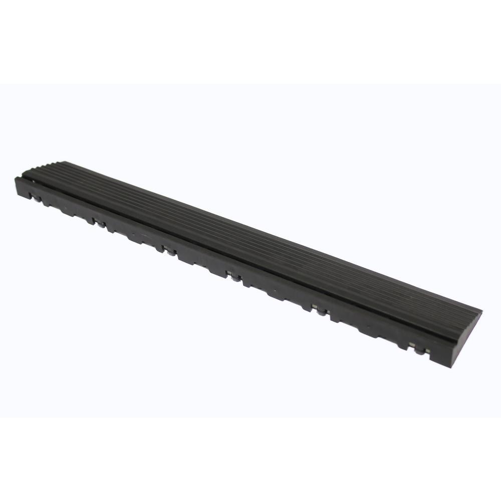 15.75 in. Jet Black Pegged Edging for 15.75 in. Swisstrax Modular Tile Flooring (2-Pack)