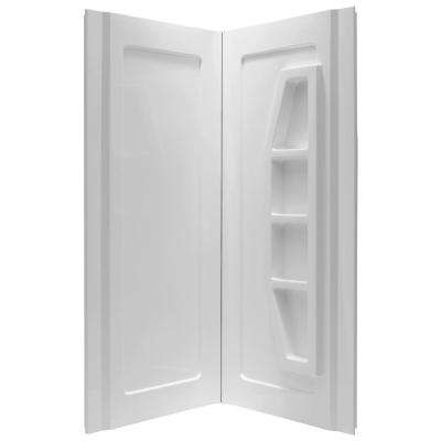 Gradient 36 in. x 36 in. x 74 in. 2-piece Direct-to-Stud Corner Shower Surround in White