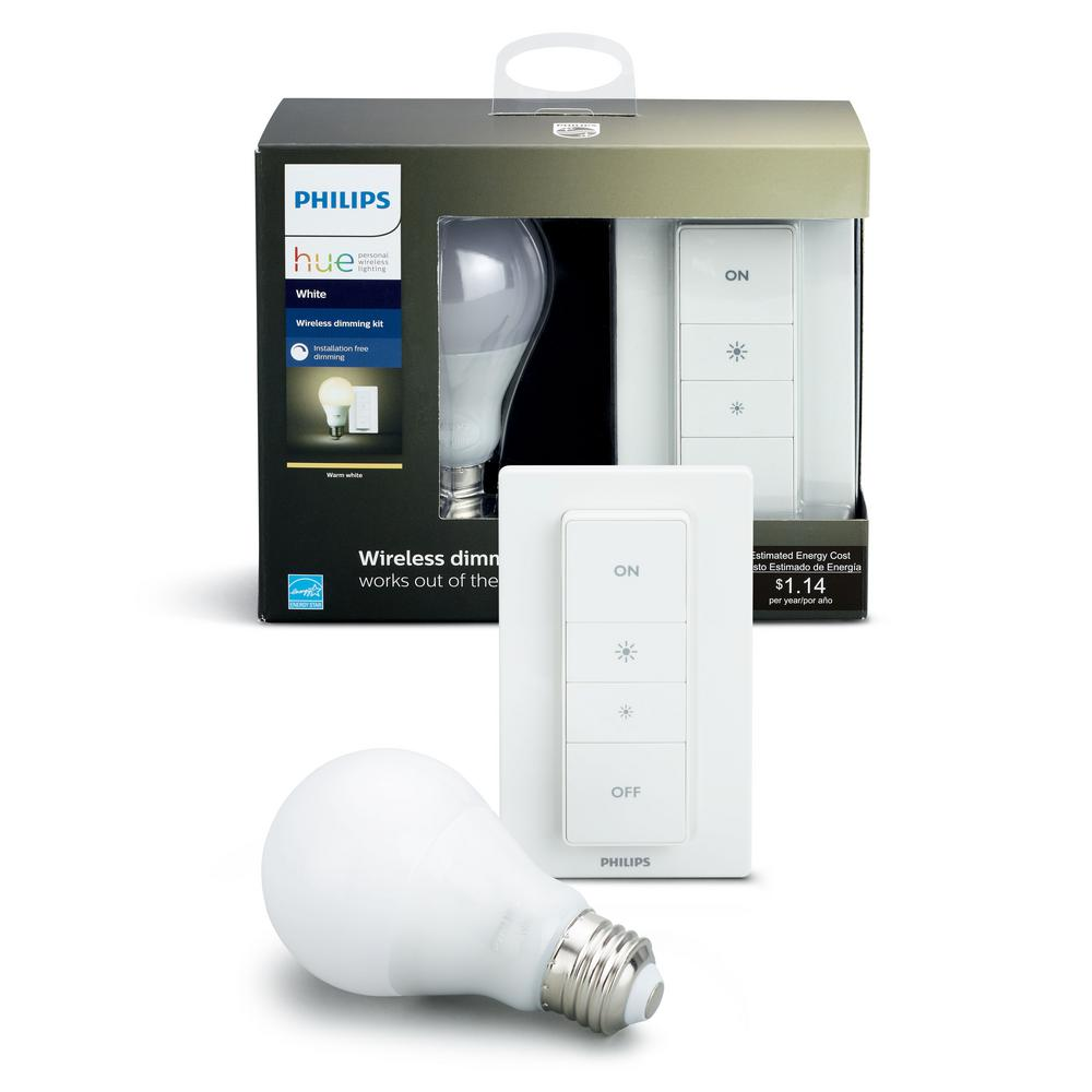 Philips Hue White  Wireless Lighting Recipe Kit (1 A19 LED 60W Equivalent Dimmable Smart Light Bulb and Remote Dimmer Switch)
