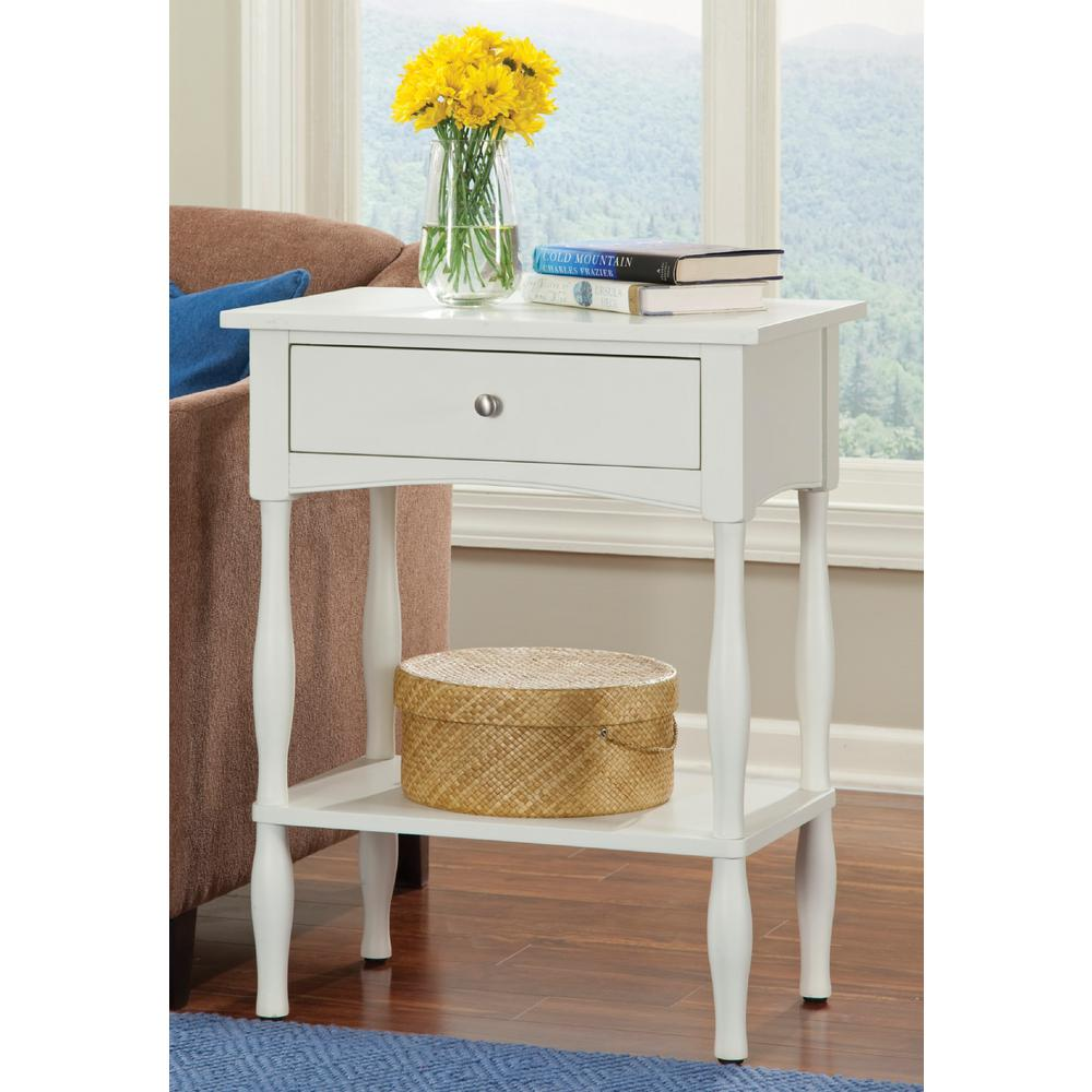 Alaterre Furniture Shaker Cottage Ivory Storage End Table