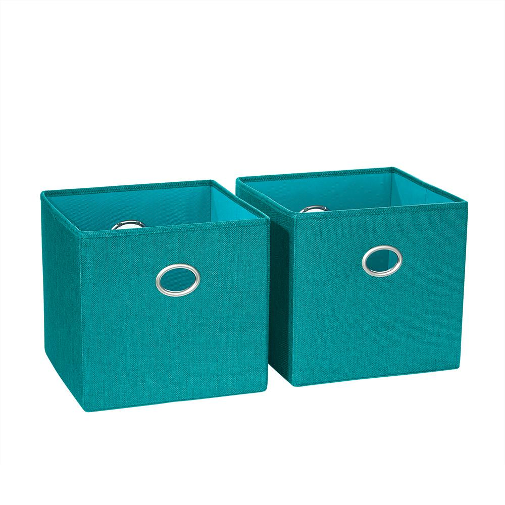 Riverridge home 10 5 in x 10 in turquoise folding for Turquoise bathroom bin