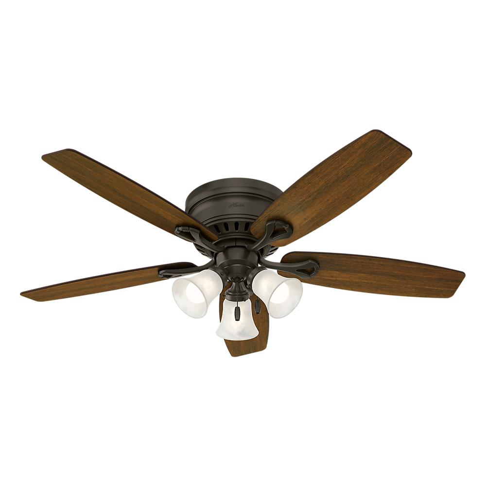 Hunter Oakhurst 52 in. LED Indoor Low Profile New Bronze Ceiling Fan with Light Kit